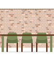 Three Empty Chairs With Long Table On Brick Wall vector image