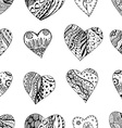 Hand Drawn Black and White Love Heart Pattern vector image vector image