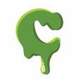 Letter C made of green slime vector image