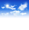 Sky background - White clouds and sun in blue sky vector image vector image