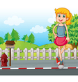 A tall young girl at the street near the mailbox vector image