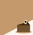 Chocolate cake slice iconcake card vector image