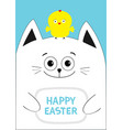 cat holding happy easter text chicken bird on the vector image