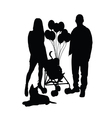 child with balloon and mam and dad vector image