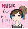 Girl listening to the music vector image