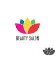 Lotus logo flower colorful beauty salon emblem vector image