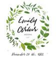 wedding invitation green floral invite card design vector image