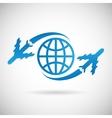 World Travel Symbol Airplane and Globe Icon Design vector image
