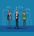 young guy with two woman with silhouette city vector image