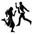 Silhouette of the girl and the guy jumped vector image