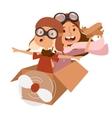 Small cartoon kids playing pilot aviation vector image