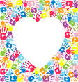 Heart of the handprints of family vector image