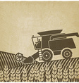 combine harvester in field old background vector image