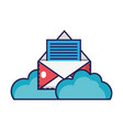 e-mail letter with document information and clouds vector image