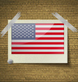 Flags USAat frame on a brick background vector image
