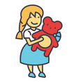 girl with teddy bear concept line icon vector image