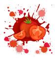 tomato vegetable logo watercolor splash design vector image