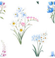watercolor floral summer pattern vector image