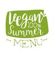 vegan summer menu green label vector image