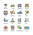 relaxation rest time color thin line icon set vector image