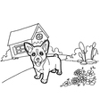 Coloring book with dog and house vector image