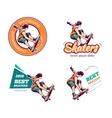 Skateboard vintage color logo set vector image