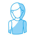 blue silhouette with half body of faceless woman vector image