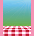 empty picnic tablecloth outside vector image