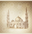 Hand drawn sketch of the mosque on the golden vector image
