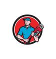 Plumber Holding Monkey Wrench Circle Cartoon vector image