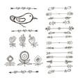 Set of hand drawn black doodle design elements vector image