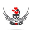 Skeleton skull with wing logo emblem element 002 vector image