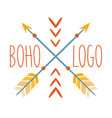 Ethnic logo boho style element hipster fashion vector image