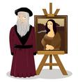 Mona Lisa Easel and Leonardo Da Vinci vector image