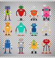 cute robots set on transparent background vector image