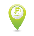 parking icon on green pointer vector image vector image