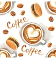 Watercolor coffee seamless vector image vector image