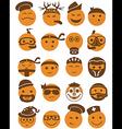 20 smiles icons set profession orange vector image vector image