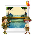 Boy and girl camping out by the river vector image vector image