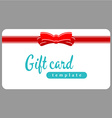 Gift card template Red ribbon with bow on a white vector image
