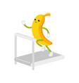 flat banana character running on treadmill vector image