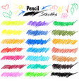 set of various colorful pencil strokes on vector image