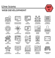 Web Development Line Icon Set vector image