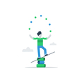 Person multitasking talented kid vector image