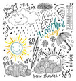 weather doodles icon set hand drawn sketch with vector image