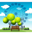 Public park with ferris wheel in background vector image