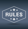 rules hexagonal white vintage retro style label vector image