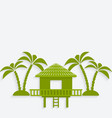 bungalow with palm trees vector image