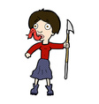 comic cartoon woman with spear sticking out tongue vector image