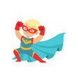 comic happy kid in superhero costume red mask and vector image